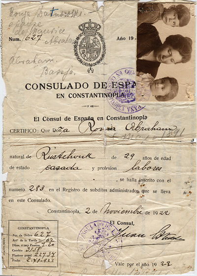 Ronya, Spanish passport, Constantinople, 1922